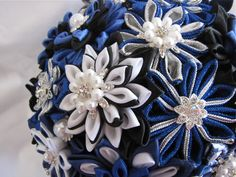 wedding bouquet I made for my daughter. close up of the satin Kanzashi flowers.