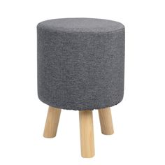 Σκαμπώ με ύφασμα και ξύλινα πόδια σε γκρί απόχρωση. Το κάλυμα από το σκαμπώ βγαίνει και είναι εύκολο στο καθάρισμα. Διαστάσεις.Φ30Χ39 ύψος εκ.