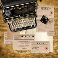 vintage telegram wedding stationery set - printable files - 1920s 1930s 1940s invitation, reception or ceremony package