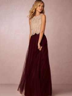 A-Line/Princess Scoop Lace Sleeveless Floor-Length Tulle Dresses PromEver