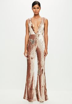 Missguided - Peace   Love Gold Sequin Jumpsuit