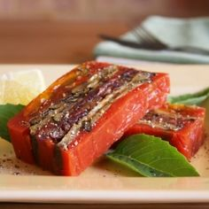 Colorful, layered, Mediterranean flavors in this grilled vegetable terrine in tomato sauce.