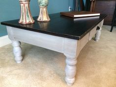 Black and Gray coffee table painted in french linen and black with a white wash and clear wax.