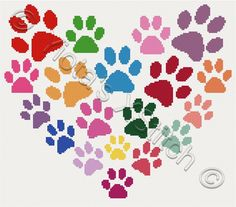 Paw cross stitch kit, pattern | Yiotas XStitch, could also be stitched as needlepoint