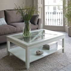 White Coffee Table with Glass top - Modern Wood Furniture Check more at http://www.nikkitsfun.com/white-coffee-table-with-glass-top/