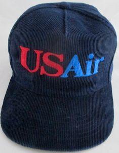 e57ab181477 Vintage USAir US Air Corduroy Snapback Trucker Cap Hat Navy Blue  Yupoong   BaseballCap Vintage