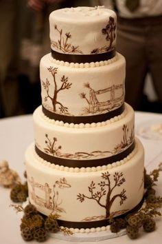 Western wedding on pinterest western weddings country for Garden wedding cake designs