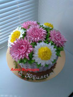 Фотография Cake Piping, Buttercream Cake, Birhday Cake, Whipped Cream Cakes, Decadent Cakes, Cream Flowers, No Bake Cake, Cake Designs, Cake Recipes