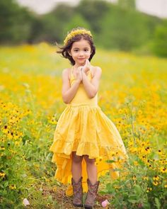 39547cbe05 Beautiful high low dress in yellow to take photos in a field of  wildflowers. Or
