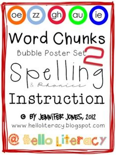 Word Chunks Poster Set 2 for Spelling & Phonics Instruction...using the 28 less common sound/spelling patterns from page 17 of the Appendix A for Common Core ELA.