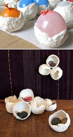 Pat paper clay over balloons to make these paper-clay barnacles. Source: Design Sponge