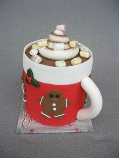 Hallo ihr Lieben,  na, Lust auf eine Tasse heiße Schokolade? Naja, das hier ist eine Torte, aber zu der schmeckt eine heiße Schokolade sicher super. Sie ist zu 100% essbar. Es ist mir persönlich immer sehr wichtig, dass so viel wie möglich essbar ist. Die Marshmallows und das Kabapulver sind echt und nicht aus Fondant. Damit zaubert ihr Weihnachten in eure Küche. :)