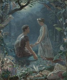 "John Simmons (1823-1876), ""Hermia and Lysander, a midsummer night's dream"""
