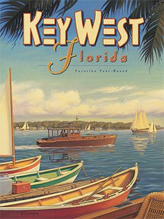 Key West, Florida - Vacation Year-Round - Ernest Hemingway's Yacht Pilar - Vintage Style World Travel Poster by Kerne Erickson - Master Art Print - 12 x Vintage Florida, Old Florida, Florida Travel, Florida Vacation, Florida Fair, Florida Honeymoon, Florida Usa, Key West Florida, Florida Keys