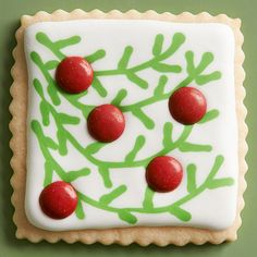 Square Sugar Cookie Cutouts with Tree Branches