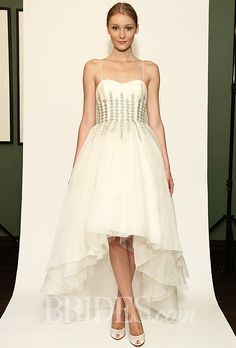 "Brides.com: Temperley Bridal - Fall 2014. ""Aralia"" high-low organza A-line wedding dress with a sweetheart neckline, spaghetti straps, and beaded floral details on the bodice, Temperley Bridal"