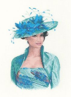 0 point de croix portrait femme en bleu - cross stitch portrait lady in blue