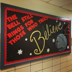 Winter Music Bulletin Board. Favorite quote from the Polar Express December Bulletin Boards, Holiday Bulletin Boards, Music Bulletin Boards, Classroom Bulletin Boards, Christmas Bullentin Board Ideas, Polar Express Crafts, Polar Express Movie, Polar Express Theme, Polar Express Quotes