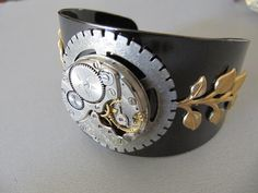 Steampunk Bracelet, Steampunk Cuff, Tungsten Color, Steampunk Jewelry, Watch Parts, Gears, Gift Ideas Under 30 Dollars, Goth on Etsy, $30.00