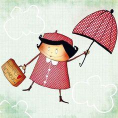Umbrella Painting, Umbrella Art, Under My Umbrella, Painting For Kids, Art For Kids, Giving Up Smoking, Singing In The Rain, Simple Illustration, Snoring