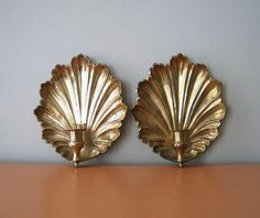 Vintage brass shell sconces.