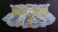 Choose your path to happiness with this sheer GOLD metallic band & bow on white lace garter with a gold Angel charm attached. A white forget-me-not floret with a gold pearl eye finish the look. Garters for Wedding - Bridal - Prom - Fashion. Visit: www.garters.com/page62d.htm