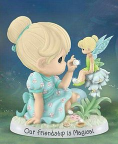 """Precious Moments """"Our Friendship Is Magical"""" Tinker Bell Figurine Tinkerbell And Friends, Tinkerbell Disney, Tinkerbell Fairies, Disney Fairies, Cute Disney, Precious Moments Wedding, Disney Precious Moments, Precious Moments Quotes, Precious Moments Figurines"""