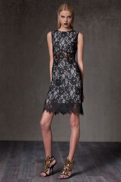 """Kruse Lace Overlay Dress in black lace by ALEXIS $550 - $189 @HauteLook. [front]. - Crew neck - Hidden back zip closure - Sheer detail at waist - Allover sheer lace overlay with scalloped edges - Partial lining - Approx. 42"""" length - Made in USA Dry clean. Shell: 100% nylon. Lining: 100% silk."""