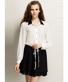 Vogue Buttons Decorations Patchwork Long Sleeve Dress - DRESSEES - WOMEN'S CLOTHING
