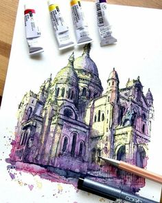 Travelling, Drawing and Painting. By Akihito Horigome. Watercolor Architecture, Sacred Architecture, Architecture Drawings, Watercolor Sketch, Watercolor Paintings, Watercolours, Art Sketches, Art Drawings, Urban Sketching