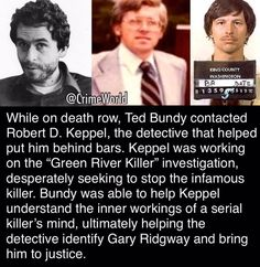 "Ted Bundy helped take down Gary Ridgway aka ""The Green River Killer."" Crime and Punishment (@TrueCrimeHub) 