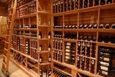 Wine room with sliding ladder = YES. Wine Cellar Innovations, Rolling Ladder, Wine Sale, Wine Storage, Storage Ideas, Industrial Farmhouse, Wine And Beer, My Dream Home, New Homes