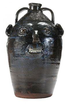 Large Burlon Craig Stoneware Face Jug