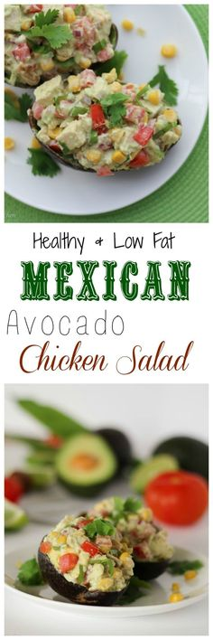 Try my low fat low carb Mexican themed avocado chicken salad with greek yogurt, avocado, corn, bell pepper and chicken breasts.