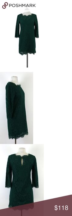 """Joie- Hunter Green Lace Dress Sz XS This elegant hunter green dress has lovely lace all over. Wear this to a special occasion or a date night and watch the heads turn. Size Extra Small Body 58% nylon 42% cotton Lining 100% cotton Pull over Keyhole back w/button Round neckline Three quarter sleeves Eyelash lace at neckline, hem & sleeve hem Floral lace Shoulder to hem 31"""" The JOIE brand provides the modern, fashion-savvy customer with a global wardrobe based on three elements - casual…"""