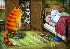 Modern Postcard Hello Art Blue Cats Kitty Kitten Puss Unposted Russian Zenyuk