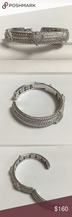 Judith Ripka Hinged Cuff bracelet Perfect condition, worn once. Sterling silver. Pave set CZ stones, three hearts, hinged cuff bracelet with beautiful detailing under it. judith ripka Jewelry Bracelets
