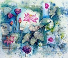 """""""Ebb & Flow of the Lotus 1"""" Mixed Media, 56cm x 66cm by artist Donna Maloney. See her portfolio by visiting www.ArtsyShark.com"""