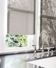 Solar Roller Shades in Synergy/ Americano 13098 help control heat in this kitchen #smithandnoble #heatcontrol #grey