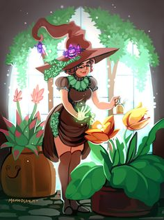 Witchsona: Plants by Momodeary - Your Daily Dose of Amazing beautiful Creativity and Digital Art - Fantasy Characters: Archers Assassins Astronauts Boners Knights Lovers Mythology Nobles Scholars Soldiers Warriors Witches Wizards Wicca, Witch Characters, Fantasy Characters, Character Art, Character Design, Witch Drawing, Modern Witch, Witch Art, Witch Aesthetic