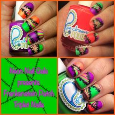 Halloween patchwork nails