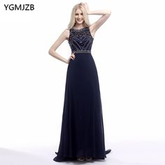 Find More Evening Dresses Information about Abendkleider Long Evening Dresses 2018 New Arrival A Line Scoop Sleeveless Beaded Crystals Chiffon Prom Dress Robe De Soiree,High Quality robe de soiree,China evening dress Suppliers, Cheap long evening dress from Shop1404230 Store on Aliexpress.com
