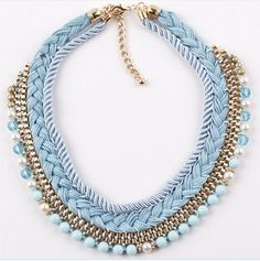 New Design Luxury Bohemia Braided rope Necklaces & Pendants Bib Choker Chunky Statement Necklace Women Shourouk-in Choker Necklaces from Jew...
