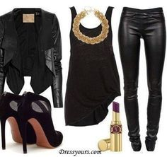 All black outfit. Sexy & mysterious look!!!