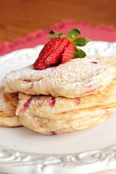 Strawberry Pancakes - strawberries, powdered sugar, and pancakes - what more do you need?