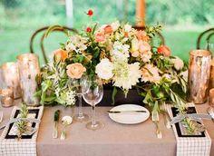 Coral cream green wedding flowers