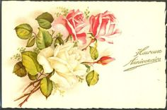 GL005-ANNIVERSAIRE-ROSES-Blanches-ROSES-Roses-FANTAISIE-Belle-LITHO