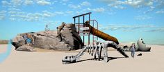 This dinosaur-themed playground design featuring ID Sculpture playground…
