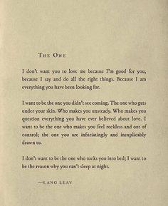 #LangLeav #TheOne #Poetry