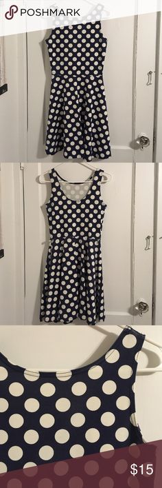 Polka dot dress Knee length navy blue and white polka dot skater dress. Knee length. UK size 10. Equivalent to US 2/4. Dresses Midi